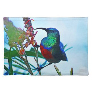 Hummingbird ruby throated cloth placemat