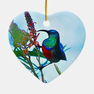 Hummingbird ruby throated Double-Sided heart ceramic christmas ornament
