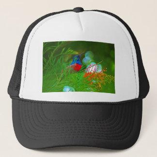 Hummingbird ruby throated trucker hat