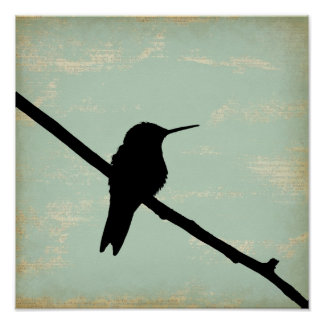 Hummingbird Silhouette on Blue Grunge Background Poster