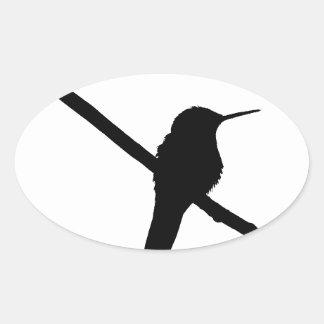 Hummingbird Silhouette Oval Sticker