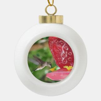 Hummingbird Sipping Ceramic Ball Christmas Ornament