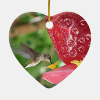 Hummingbird Sipping Ceramic Ornament