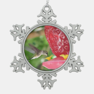 Hummingbird Sipping Snowflake Pewter Christmas Ornament