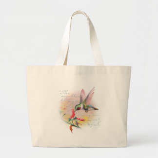 Hummingbird - Small things are the most beautiful. Large Tote Bag