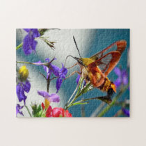Hummingbird Sphinx Moth Butterfly. Jigsaw Puzzle