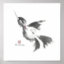 Hummingbird, Sumi-e Poster