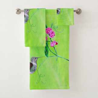 Hummingbird & Sweet Peas Bath Towel Set