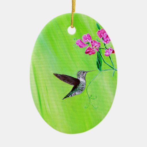 Hummingbird & Sweet Peas Ceramic Ornament
