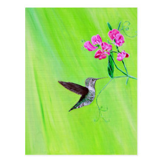 Hummingbird & Sweet Peas Postcard