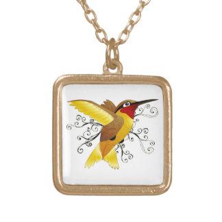 Hummingbird Swirl Square Pendant Necklace