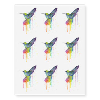 Hummingbird Temporarty Tattoo Watercolor Painting