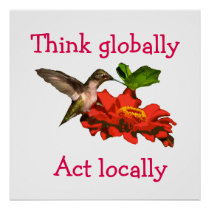 Hummingbird Think Globally Act Locally Red Poster