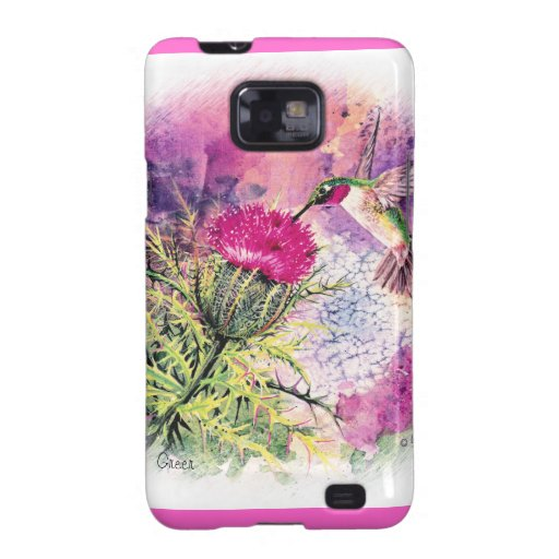 Hummingbird & Thistle Watercolor Painting Galaxy S2 Case
