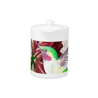 Hummingbird Tulip Map Teapot