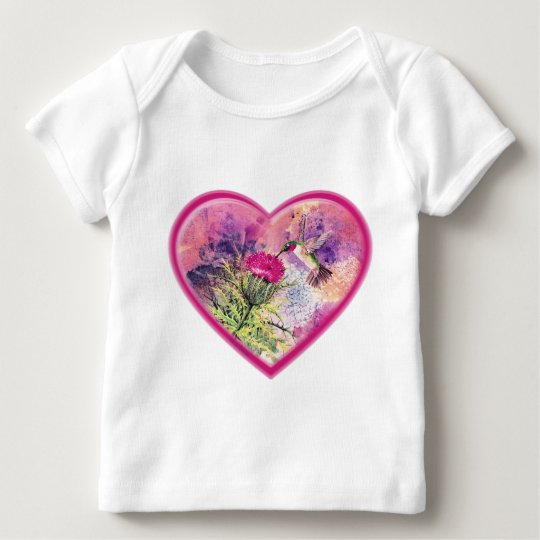 Hummingbird Valentine Watercolor Infant Tee Shirt