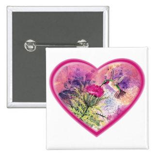 Hummingbird Valentine Watercolor Pin Button