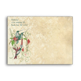 Hummingbird Vintage Distressed  Damask Envelope