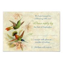 Hummingbird Vintage Floral Wedding RSVP Reply Invitation