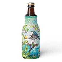 Hummingbird Watercolor Art | Nature Garden Floral Bottle Cooler