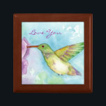 """Hummingbird Watercolor Nature Art Love You Keepsake Box<br><div class=""""desc"""">A pretty wooden gift box featuring a watercolor painting of a colorful hummingbird visiting garden flowers with a soft blue watercolor wash background.  You can change or delete the text if you like.</div>"""