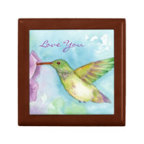 Hummingbird Watercolor Nature Art Love You Keepsake Box
