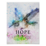 Hummingbird Watercolor Office Decor Matte Poster