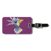 hummingbird watercolor peaceful sketch bag tag