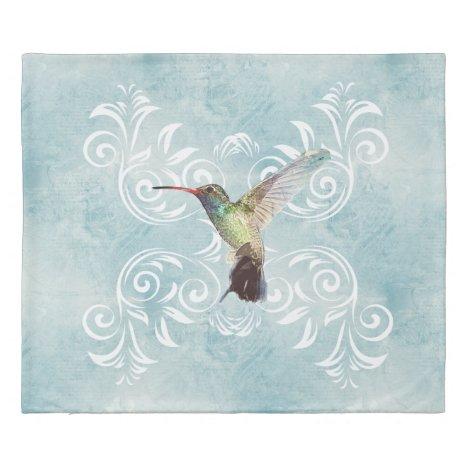 Hummingbird with Flourish Background Duvet Cover