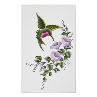 Hummingbird with Flowers 1 Print