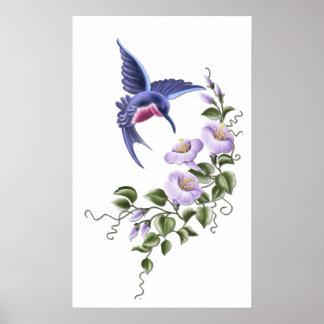 Hummingbird with Flowers 2 Print