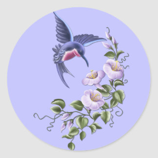 Hummingbird with Flowers 2 Stickers