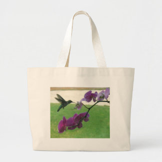 Hummingbird with Orchid Large Tote Bag