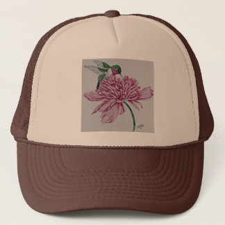 Hummingbird with Peony Trucker Hat