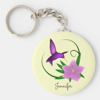 Hummingbird with pink flower name girl keychain