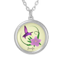 Hummingbird with pink flower name silver plated necklace