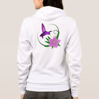 Hummingbird with pink flower name woman's hoodie