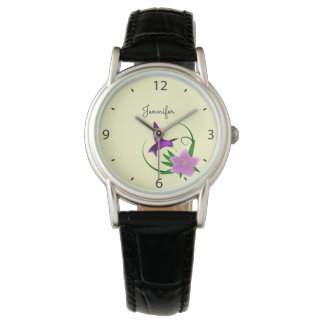 Hummingbird with pink flower name wrist watch