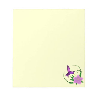 Hummingbird with pink flower notepad