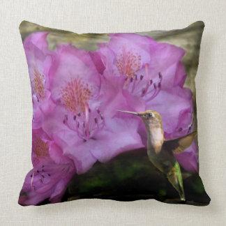Hummingbird With Purple Flowers Throw Pillow