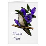 Hummingbird With Purple Pansies: Thank You: Art Card