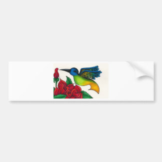Hummingbird with Red Roses Bumper Sticker