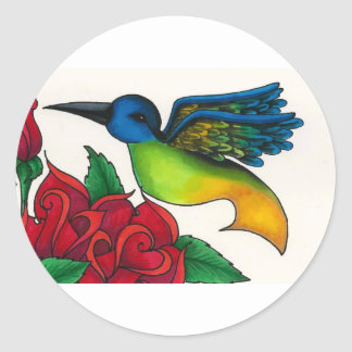 Hummingbird with Red Roses Classic Round Sticker
