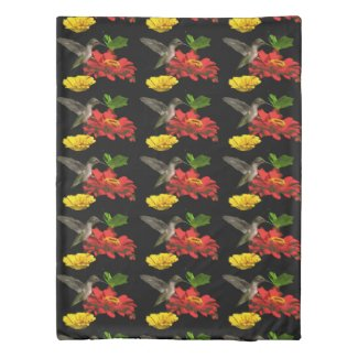 Hummingbird with Red Yellow Flowers Duvet Cover