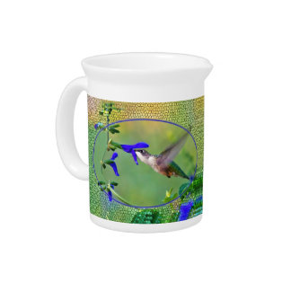 Hummingbird With Stained Glass Beverage Pitcher