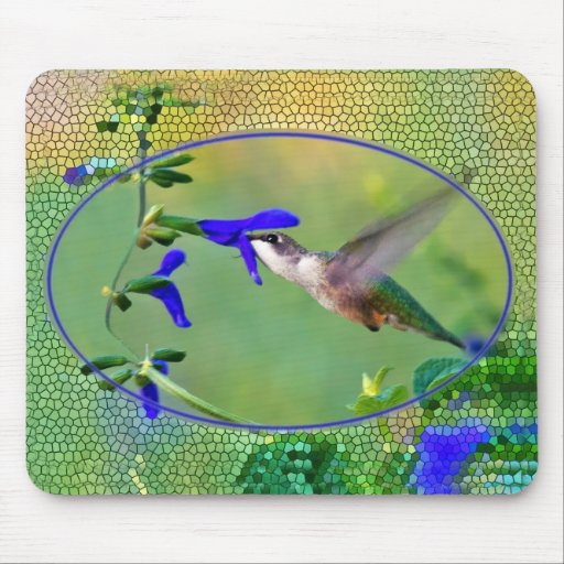 Hummingbird With Stained Glass Mouse Pad