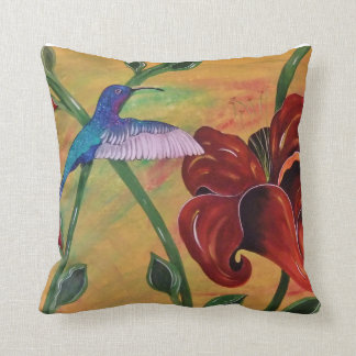 Hummingbird With Tiger Lily Pillow