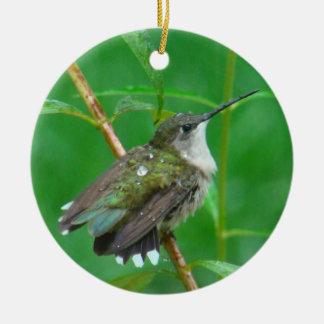 Hummingbird with Wings Spread Ceramic Ornament