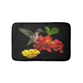 Hummingbird with Zinnia Bird and Flowers Bath Mats