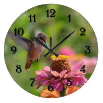 Hummingbird with Zinnia Flower Large Clock